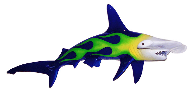 Image of 41inch Hammerhead shark sculpture with Blue/green custom paint hotorod