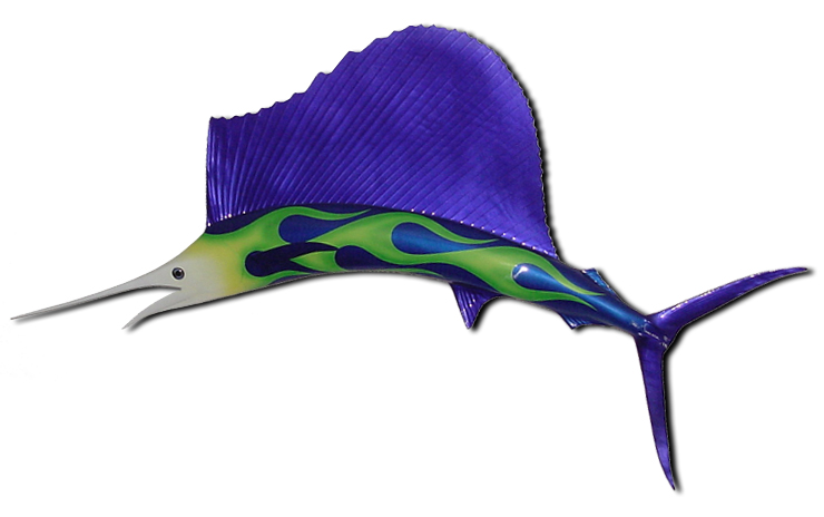 Hot Rod Flamed Sailfish in Blue & Green