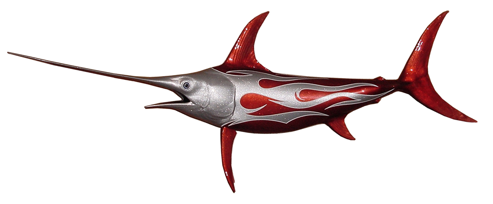 Swordfish Sculpture pinstripes tribal flames